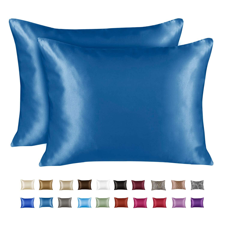 Shop Bedding Luxury Satin Pillowcase for Hair – Standard Satin Pillowcase with Zipper, Marine Blue (Pillowcase Set of 2) – Blissford