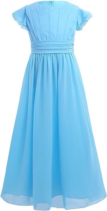 95a82c981b0cf5 Mädchen Kleid Prinzessin Kleid Blumenmädchenkleid aus Chiffon A-Linie  Plissiert Festlich Hochzeit Party Langes Abendkleid Gr.104-164