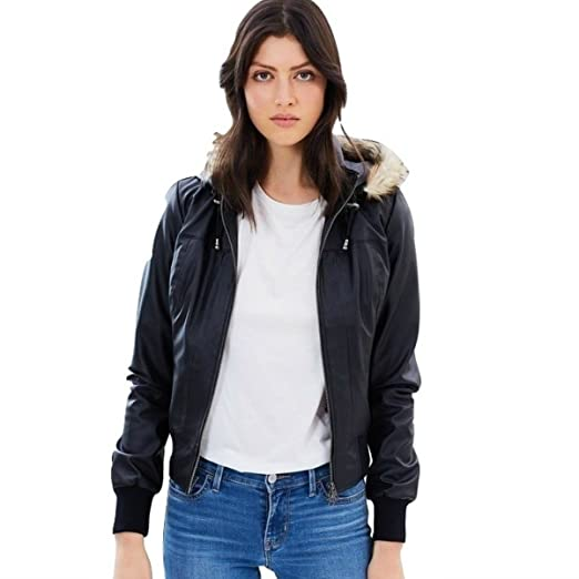 James Co Womens Vegan Leather Bomber Jacket Black S At Amazon