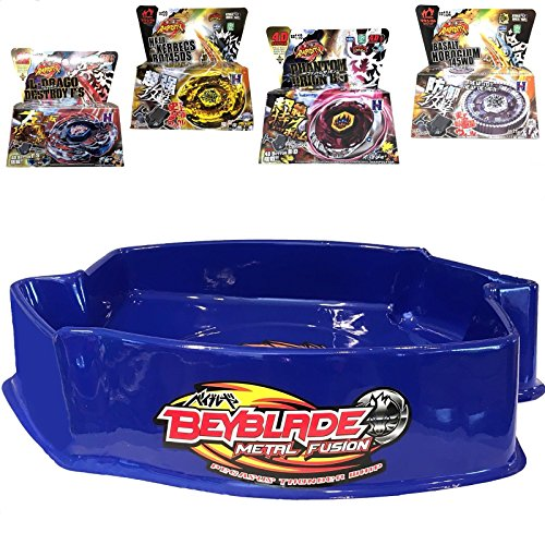 MW081 Ultimate Large Blue Pegasus Beystadium Set 4 Beyblades w/ Launchers + Stadium by MW081