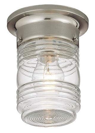 Captivating Hardware House 54 4700 Jelly Jar   One Light Outdoor Flush Mount, Satin  Nickel