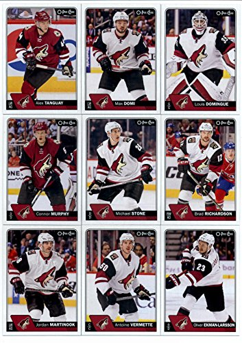2016-17 O-Pee-Chee Hockey Arizona Coyotes Team Set of 16 Cards in Protective Snap Case: Louis Domingue(#24), Max Domi(#31), Alex Tanguay(#81), Brad Richardson(#104), Michael Stone(#131), Connor Murphy(#162), Oliver Ekman-Larsson(#190), Antoine Vermette(#215), Jordan Martinook(#241), Martin Hanzal(#268), Mike Smith(#299), Kevin Connauton(#334), Tobias Rieder(#362), Shane Doan(#470), Anthony Duclair(#499), Sergei Plotnikov(#506)