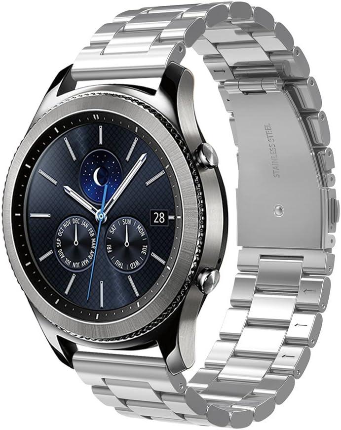 Simpeak Correa Compatible con Samsung Gear S3 Reloj, Correa Compatible para Samsung Galaxy Watch (46mm) Acero Inoxidable Banda de Reemplazo Correa - Plata