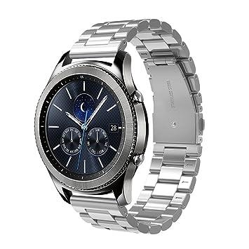 Simpeak Correa Compatible con Samsung Gear S3 Reloj, Correa Compatible para Samsung Galaxy Watch (46mm) Acero Inoxidable Banda de Reemplazo Correa - ...
