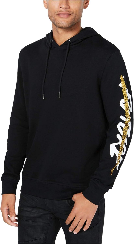 I-N-C Mens Sequin Graphic Hoodie Sweatshirt XXX-Large Black