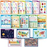 16 Educational Posters for Kids - USA and World Map, Presidents, Solar System, Periodic Table, Calendar, Seasons, Math and More- Perfect for Kids Rooms or School Classrooms - Big Size 17x22