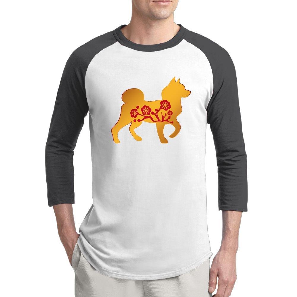 SeeSeasan Mens Raglan Shirt Chinoiserie Dog Year Wintersweet Funny 3//4 Sleeve Baseball Tee