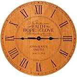 Wedding Clock or Anniversary Clock, Personalized wedding gift, anniversary gift, housewarming gift '' Now these three remain, FAITH, HOPE, LOVE, But the greatest of these is love. 1 Cor. 13 (Cherry)