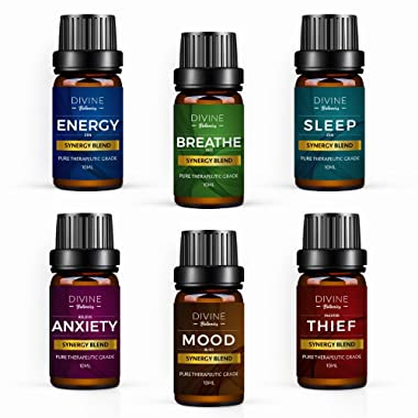 Aromatherapy Essential Oil Blend Set of top 6 Pure Therapeutic Grade Oils 10 ml Synergy Blends Include Breathe Sleep Anxiety Mood Energy and Thief Protection - Valentines Day Gift Made in USA