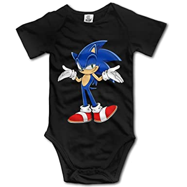 3d4d6c56354a Amazon.com: Sonic The Hedgehog Lovely For Climbing Clothes Infant Rompers -  Black: Clothing