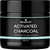 Beaueli Activated Charcoal Teeth Whitening Powder (2.1 Oz) Natural Black Tooth Whitener Coconut Charcoal Toothpaste Powder fo