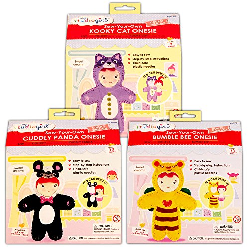 Doll Making Kit for Kids -- Set of 3 DIY Sew-Your-Own Onesie Dolls (Childrens Sewing Projects)