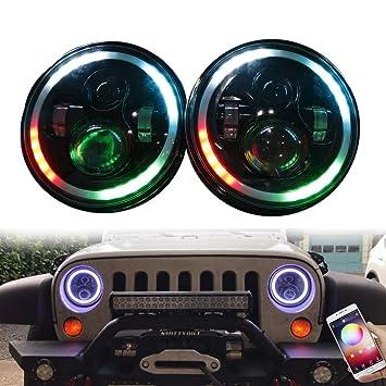 ZHUOYUE 1 Unids 7 pulgadas Led Faros Bombilla RGB Halo Angel Eye con DRL Bluetooth Modo