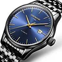 Men's Automatic Mechanical Watch Waterproof Analog Calendar Stainless Steel Simple Business Wrist Watches (Steel...