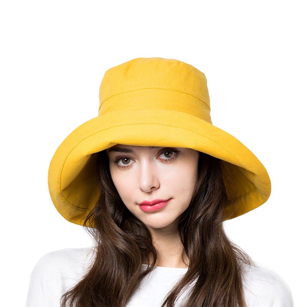 Sun Bucket Hat Women Summer Floppy Cotton Sun Hats Packable Beach Caps SPF 50+ UV Protective(A4-Yellow)