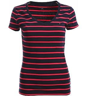 Tommy Hilfiger Damen V - Neck Shirt T-Shirt Damenshirt Gestreift ... 440e0a8308
