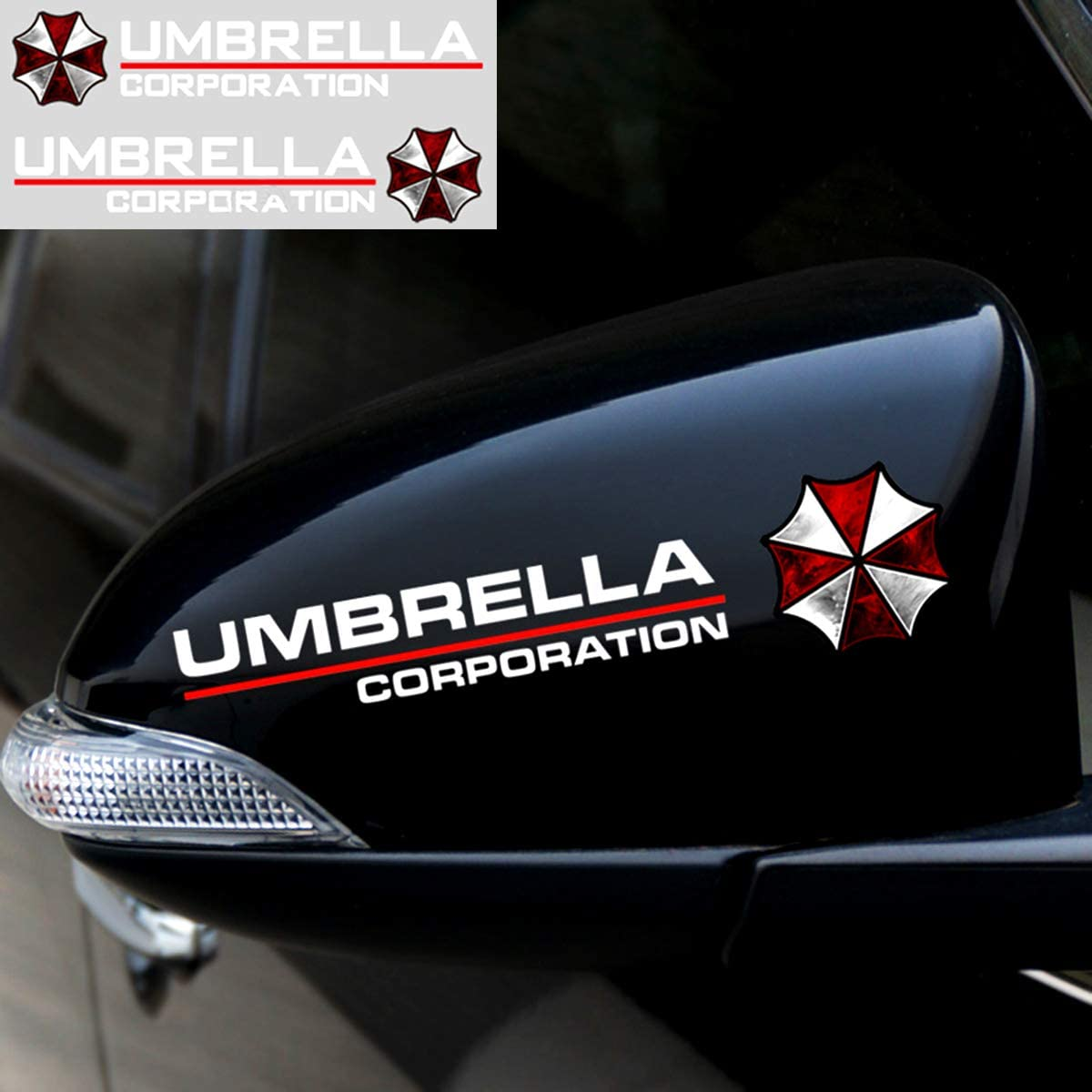 YSpring 1 Pair auto Rearview Mirror Reflective Decals Resident Evil Umbrella Corporation car Mirror Stickers for car Motorcycle Truck (Style E- White)