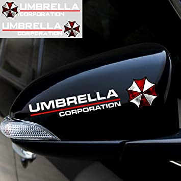 Style E- White YSpring 1 Pair auto Rearview Mirror Reflective Decals Resident Evil Umbrella Corporation car Mirror Stickers for car Motorcycle Truck
