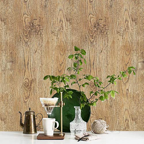 (Rustic Wood Contact Paper Distressed Peel and Stick Wallpaper Reclaimed Wood Wallpaper Wood Look Contact Paper Decorative self Adhesive Film Vinyl Shelf Drawer Liner Roll 17.7