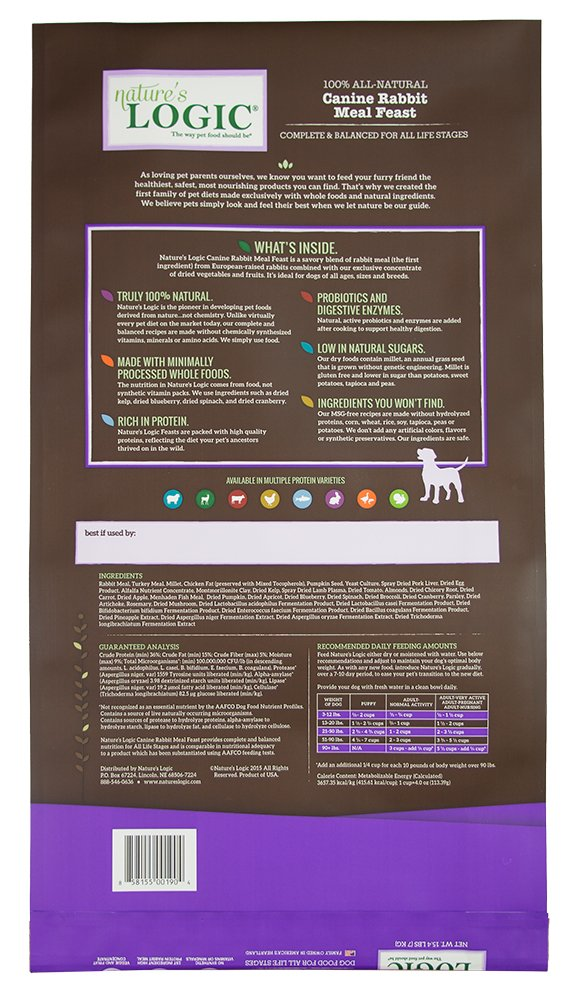 Amazon.com : NatureS Logic Canine Rabbit Meal Feast, 15.4Lb : Dry Pet Food : Pet Supplies