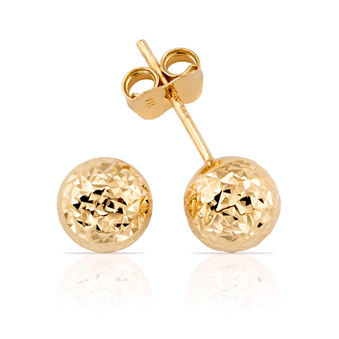 14K Gold Hammered Finish Ball Stud Earrings for Women and Girls (yellow-gold)