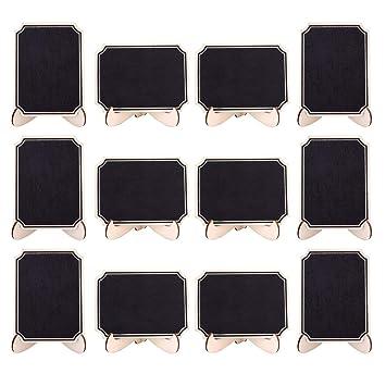 20pcs Mini Pizarras, Pizarras madera con Soporte Tablero Número de Mesa Tabla Señales de Tablero Signos de Mensajes para Boda (Style 5)