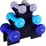 12KG Dumbbell Set Rack 6pcs Bumbbells Weights Plates Adjustable Home Gym Fitness Exercise Workout Training Bar Hand Rack Bench Press Squat Standard Everfit 3KG 2Kg 1KG