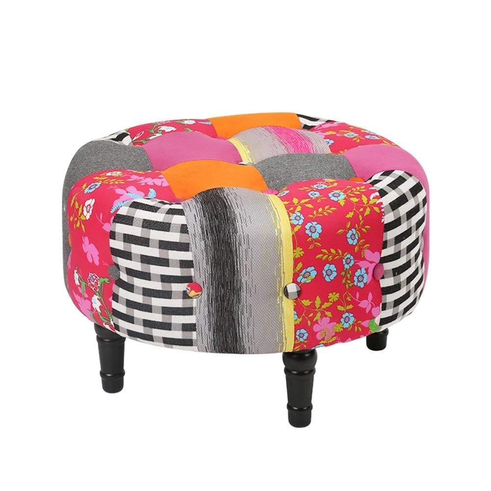 小さいスツールの方法純木の布のソファースツールは靴のスツールを変えます (Color : A) B07T9T387Q A
