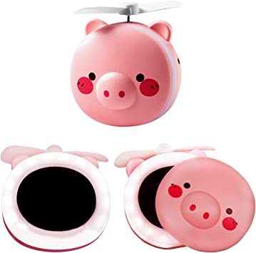 Amazon Com Ywbeyond 2 In 1 Cute Piggy Mini Cosmetic Fan Led Mirror Light Pig Cartoon Handheld Portable Makeup Hand Mirror General Purpose Usb Rechargeable Furniture Decor