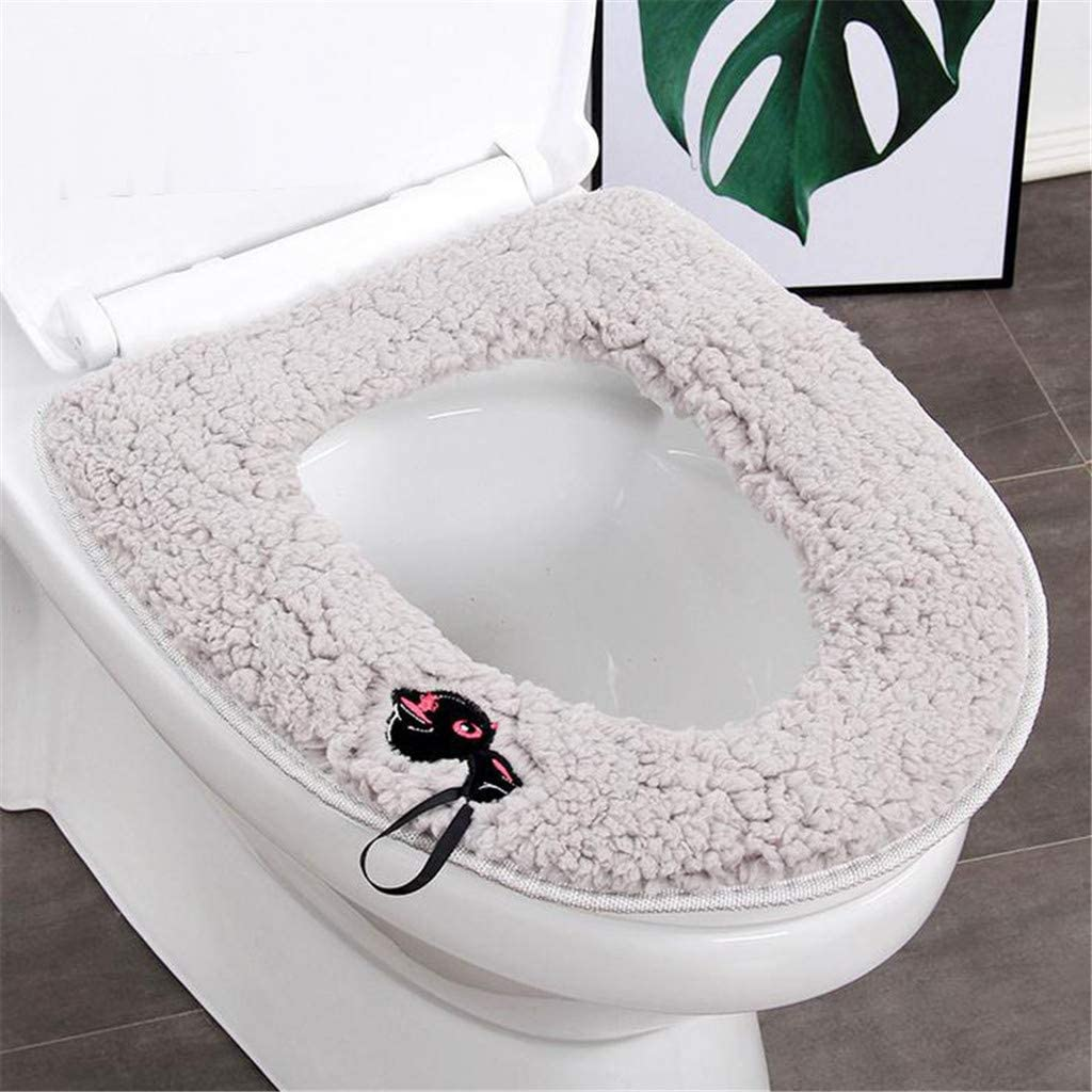 Yliquor Plush Thick Universal Toilet Seat Winter Thicker Warmer Household Waterproof Toilet Seat Ring Easy to Fit Washable and Reusable