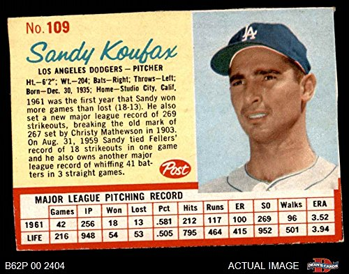 1962 Post Cereal # 109 RED Sandy Koufax Los Angeles Dodgers (Baseball Card) (Has thin Red Lines around stats) Dean's Cards 5 - EX Dodgers