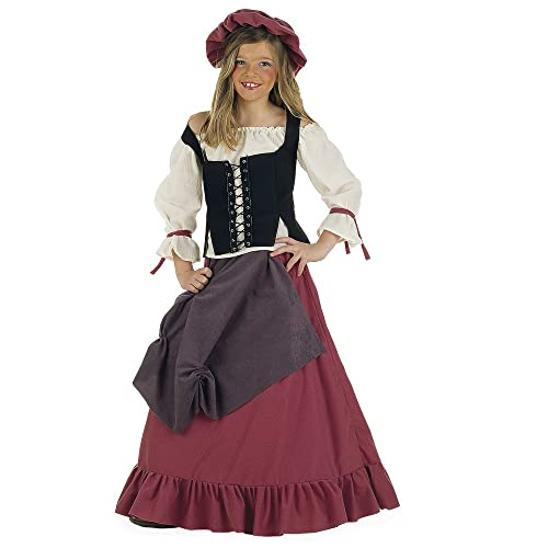 Limit Sport MI356–Costume de villageoise (style moyen-âge) pour enfant, 4pièces (corset, robe, haut, chapeau)