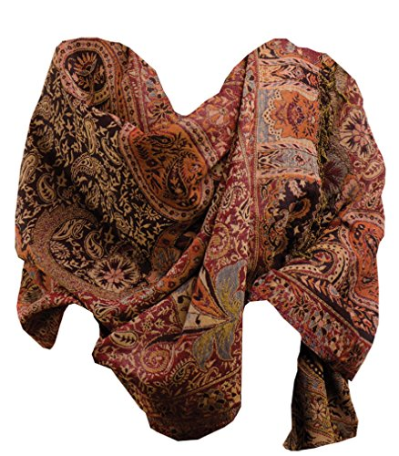 Ameya Paisley Merano Wool Wrap - 28 By 78 Inches - Certified Fair Trade