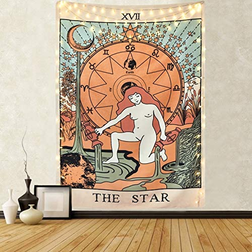 Tarot Tapestry The Star Tapestry Medieval Europe Divination Tapestry Wall Hanging Mysterious Tapestries for Room