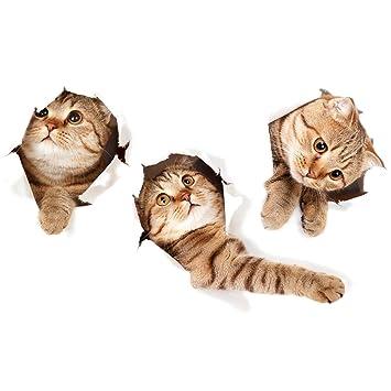 3D Katzen Aufkleber, Katze Formen Wand Sticker 3D Dekorative Wand ...