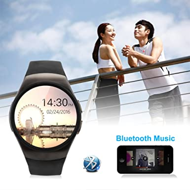 Amazon.com: KW18 Smart Watch Android/IOS SAMRT BANDS Bluetooth Reloj Inteligente SIM Round Heart Rate (GOLD): Cell Phones & Accessories
