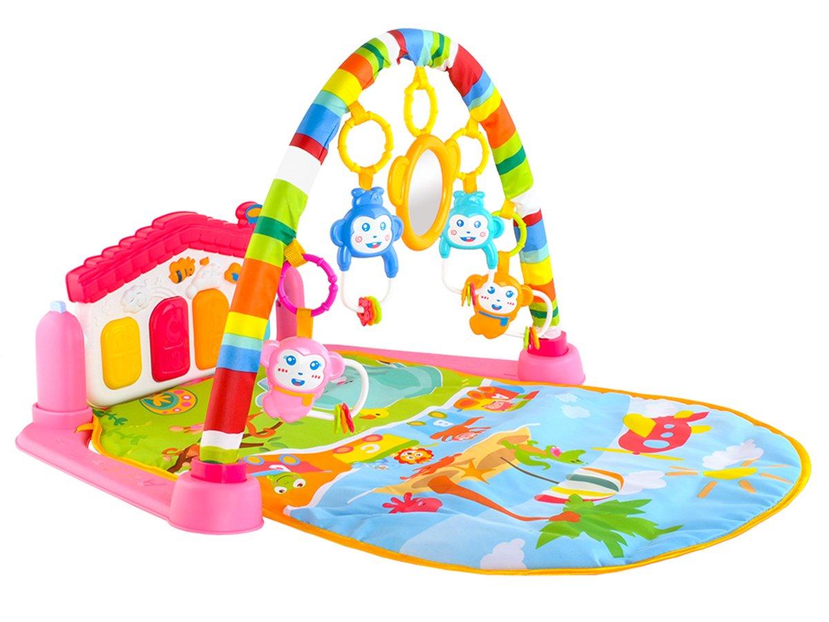 Iso Trade Musik-Spielbogen mit Keyboard Spielbogen Baby Krabbeldecke 2 Farben #5638, Farbe:Rosa