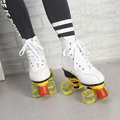 Roller Skates for Kids Adult PVC Wheel Mesh Breathable Roller Skates for Beginners Children Boys and Girls, White : Sports & Outdoors