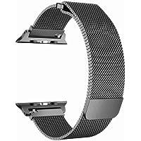 Apple Watch Kordon Paslanmaz Çelik Kayış Milanes 1. Seri 2. Seri 3. Seri 4. Seri Manyetik Mıknatıslı 38mm 40mm 42mm 44mm + Standlı Kalem Hediye (42mm, Koyu Gri)
