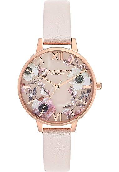 Olivia Burton Reloj Analógico para Mujer de Cuarzo con Correa en Cuero OB16SP14: Amazon.es: Relojes