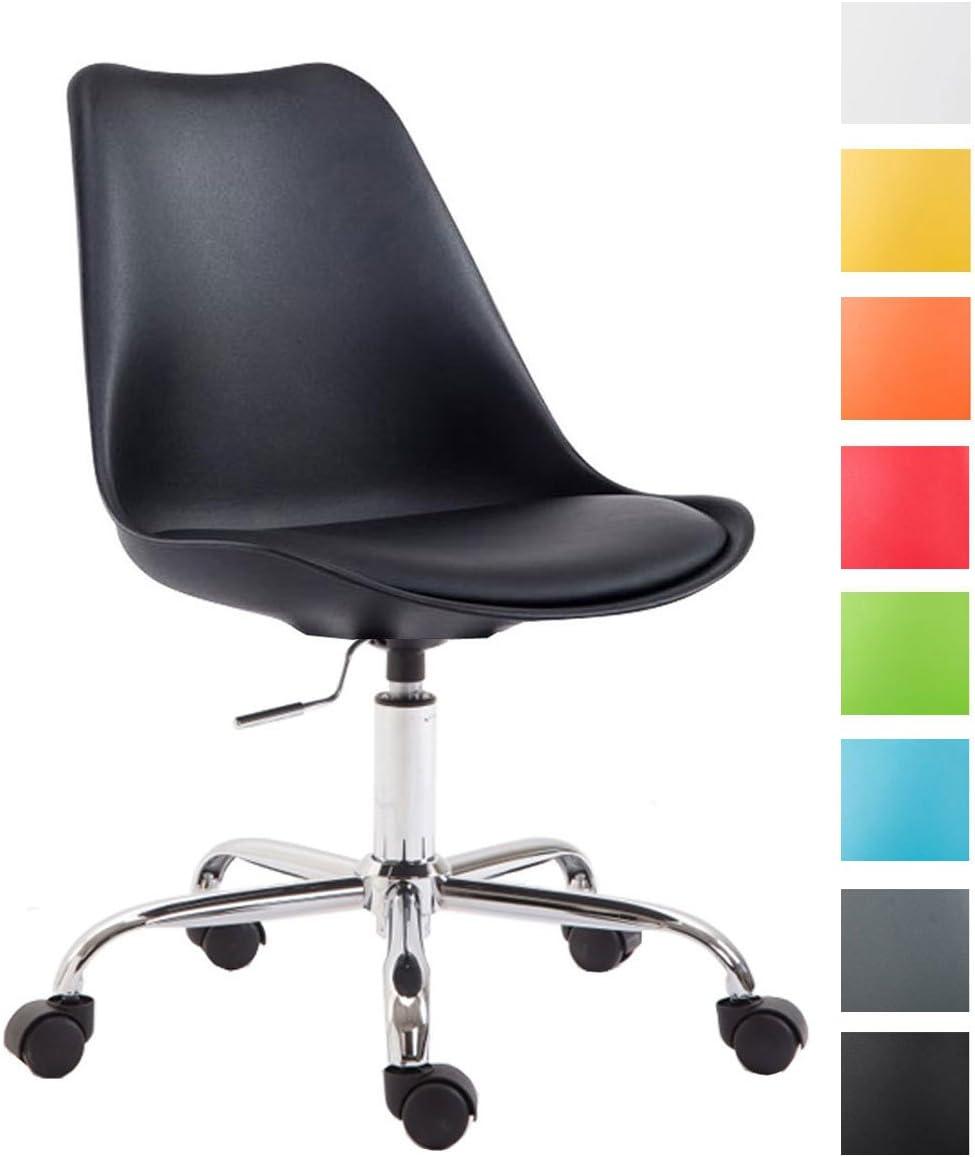 CLP Silla de Oficina Toulouse con Estructura de Plástico I Silla de Escritorio Regulable en Altura & Giratoria I Silla de Ordenador con Ruedas I Color: Negro