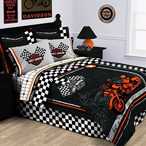 Amazon.com: Harley Davidson Racing Bandera Almohada: Home ...