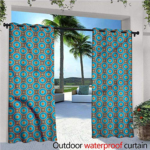 warmfamily Retro Outdoor- Free Standing Outdoor Privacy Curtain Geometric Design Bullseye for Front Porch Covered Patio Gazebo Dock Beach Home W96 x L96 (Light Plum Bullseye)