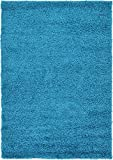 colorful area rugs Unique Loom Solo Solid Shag Collection Modern Plush Turquoise Area Rug (4' x 6')