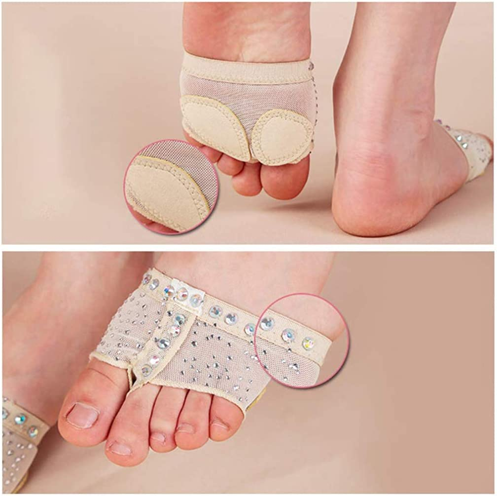 1 Pair 2 Colors HorBous Dance Forefoot Protector//Dance Foot Thong with Diamond Design