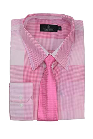 Vittorino Men's Plaid Long Sleeve Cotton Dress Shirt and Matching ...