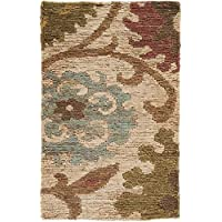Surya Columbia CBA-106 Hand Woven 100-Percent Jute Natural Fiber Accent Rug, 2-Feet by 3-Feet