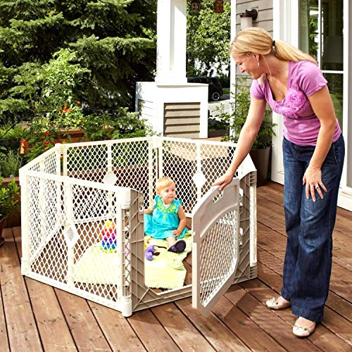 """Toddleroo by North States Superyard Ultimate 6-Panel Play Yard:Safe Play Area for Indoors or Outdoors.Folds up with Carrying Strap for Easy Travel.Freestanding.18.5 sq.ft. Enclosure (26"""" Tall, Ivory)"""