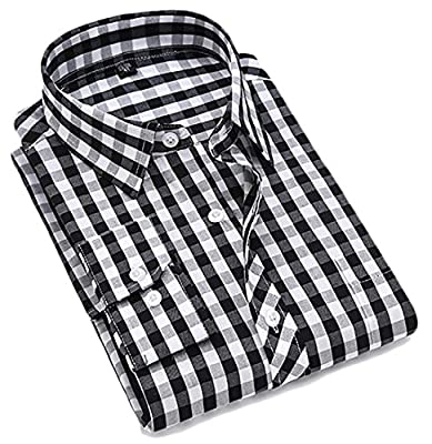 Zago Mens Slim Cotton Plaid Long Sleeve Business Button Down Shirt
