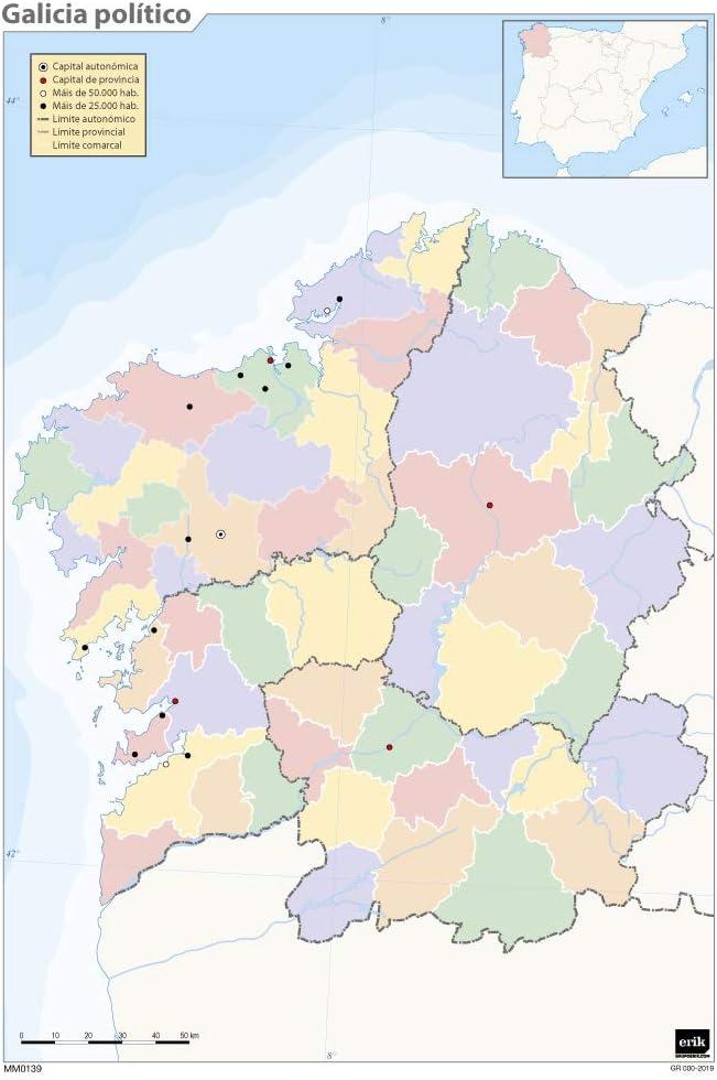 Mapa mudo Galicia politico A4: Amazon.es: Oficina y papelería
